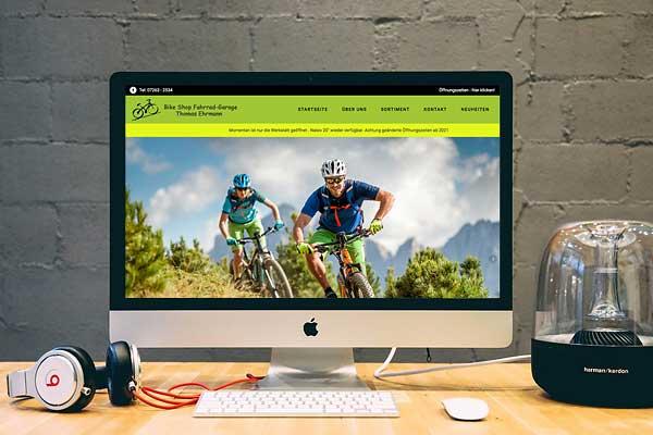 Projekt Website für Bikeshop Waibstadt